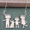 Lantisor Familie - 4 Membri cu Pisica - Argint 925