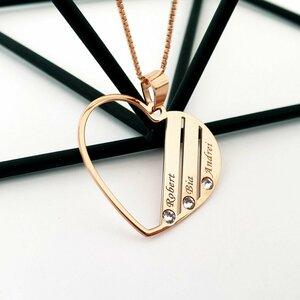 Lantisor Familie Inima - 3 membri - Argint 925 placat cu Aur roz 14K si cu cristale Swarovski
