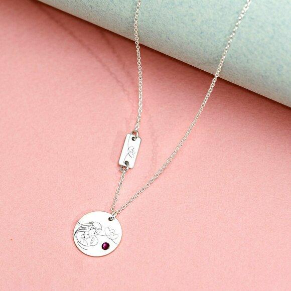 Lantisor personalizat - 2 Pandantive - Sarutul mamei - Argint 925