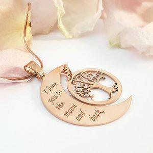 Lantisor personalizat - Luna si copacul vietii - Argint 925 placat cu Aur roz 14k