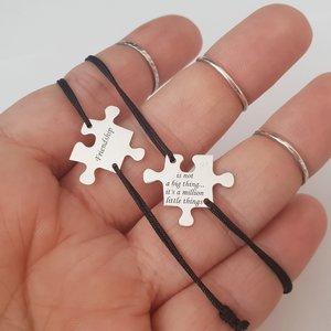 Set 2 bratari personalizate - Piese de puzzle - Argint 925, snur reglabil