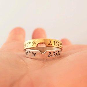 Set 2 Inele personalizate - coordonate - pentru Cuplu - Argint 925