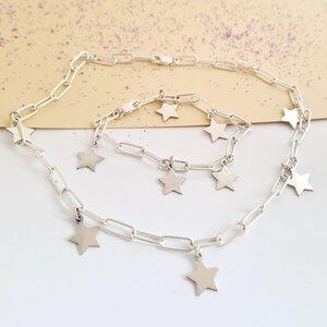 Set colier si bratara personalizata - Chic Elements - Lant cu zale dreptunghiulare - Pandantive diverse simboluri - Argint 925