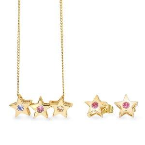 Set colier si cercei - Shining Stars - placat cu aur 18K