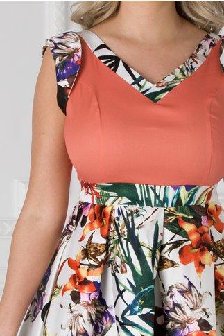 Rochie Arabella orange cu imprimeuri florale