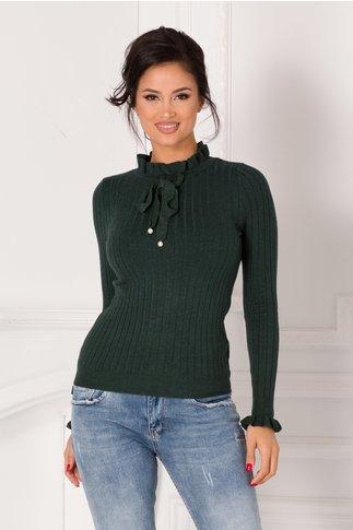 Bluza Antonia verde cu volanas la guler