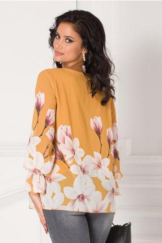 Bluza Ashley galben mustar cu imprimeu floral la baza