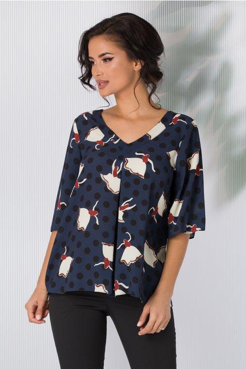 Bluza Bonnie bleumarin cu imprimeu divers si buline