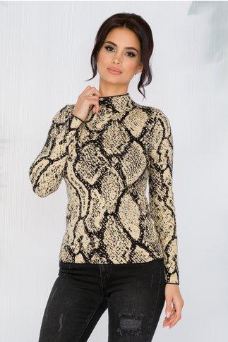 Bluza Carina bej cu imprimeuri negre si insertii din fir auriu