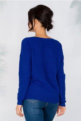 Bluza Carolina albastra din reiat cu insertii din fir lurex