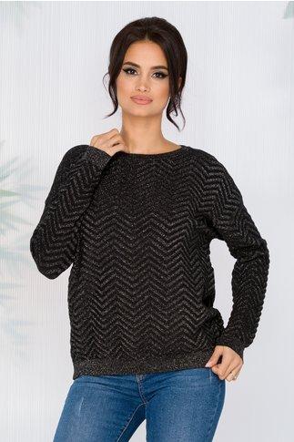 Bluza Carolina neagra din reiat cu insertii din fir lurex