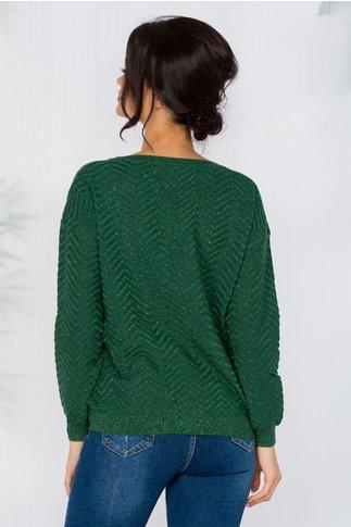 Bluza Carolina verde din reiat cu insertii din fir lurex