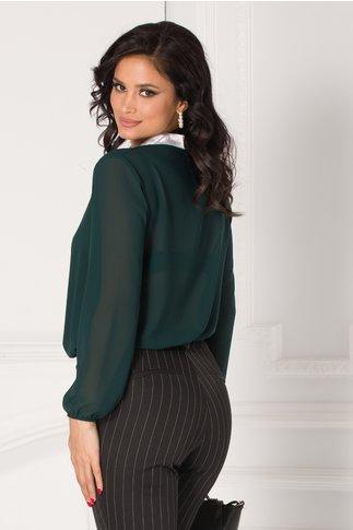Bluza Damia verde cu guler tip cravata