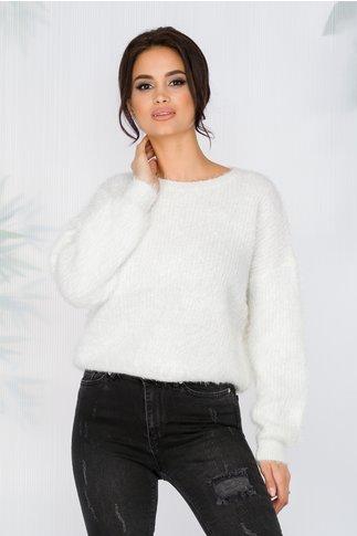 Bluza Debrah alb cu fir stralucitor