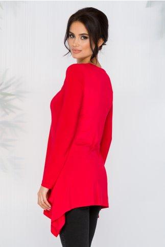 Bluza Diana rosie cu broderie florala si lungime asimetrica