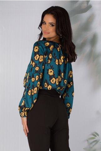 Bluza Elisa turcoaz cu imprimeu galben