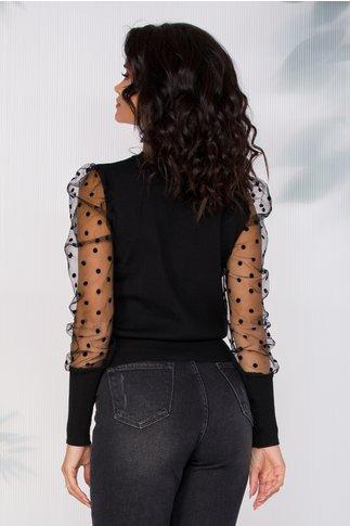 Bluza Gina neagra cu maneci din tull cu buline