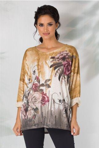 Bluza Iulia cu imprimeu galben si trandafiri