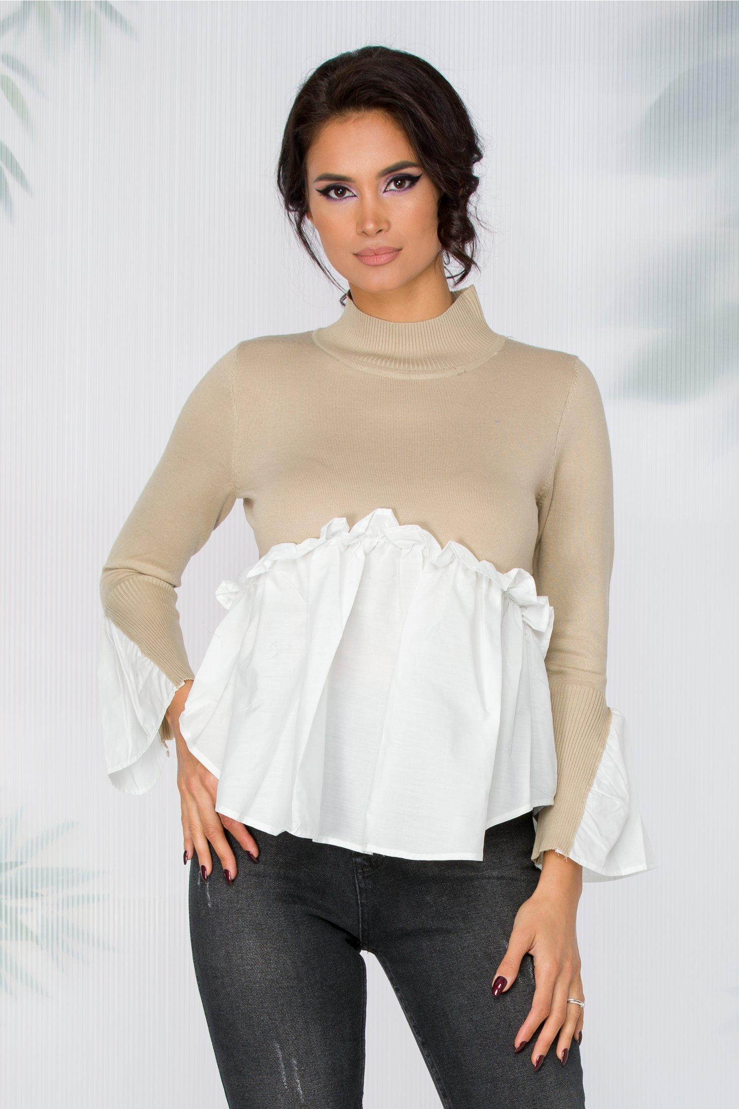Bluza Jola bej tricot cu detalii de camasa