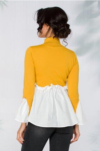Bluza Jola galbena tricot cu detalii de camasa