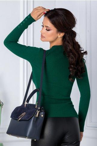Bluza Katy verde cu nasturi la maneci
