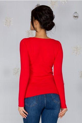Bluza Kimmy rosie cu decolteu in V