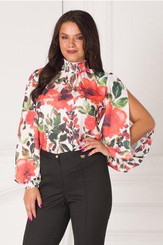 Bluza LaDonna alba cu imprimeu floral si maneci decupate si guler cret