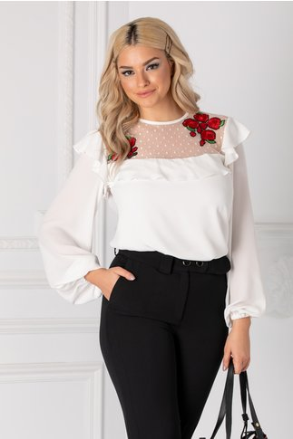 Bluza LaDonna alba cu tull si broderie florala rosie la bust