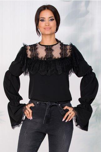 Bluza LaDonna neagra cu volanase din dantela chantilly la bust si tull alb