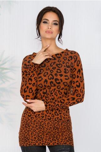 Bluza Leny maro cu imprimeu leopard si strasuri