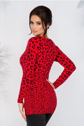 Bluza Leny rosie cu imprimeu leopard si strasuri