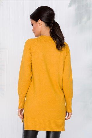 Bluza lunga galben mustar cu buzunar