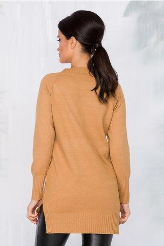 Bluza lunga maro cu buzunar