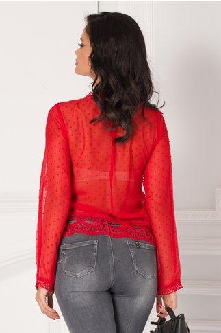 Bluza Miruna rosie cu aplicatii din broderie