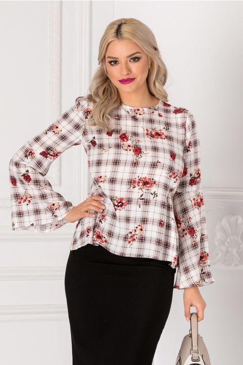 Bluza Moze alba cu carouri si imprimeu floral rosu