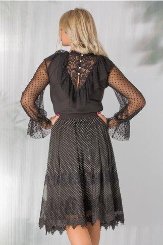 Bluza Moze neagra cu detalii din tull cu buline
