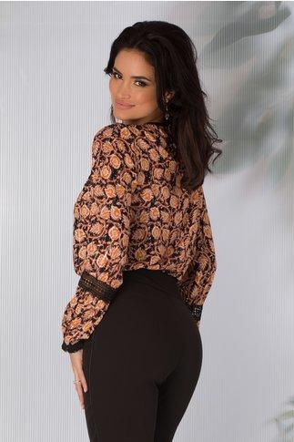 Bluza Moze neagra cu imprimeuri florale orange