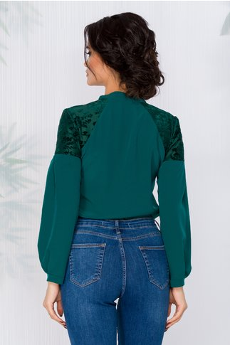 Bluza Moze verde cu guler tip esarfa