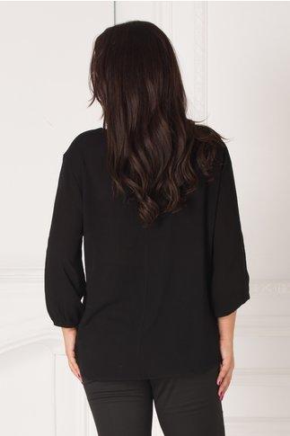Bluza neagra vaporoasa cu broderie la bust