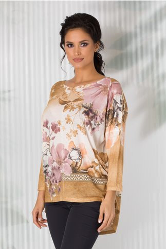 Bluza Nicoleta galben mustar cu alb in degrade si imprimeu floral