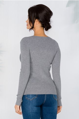 Bluza Rachel gri tip tricot cu impletitura