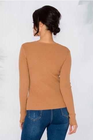 Bluza Rachel maro tip tricot cu impletitura