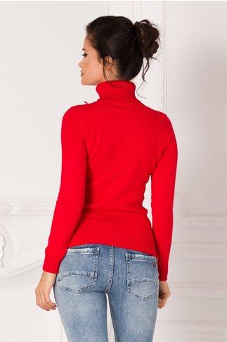 Bluza Sabrina rosie cu guler si broderie 3D la bust
