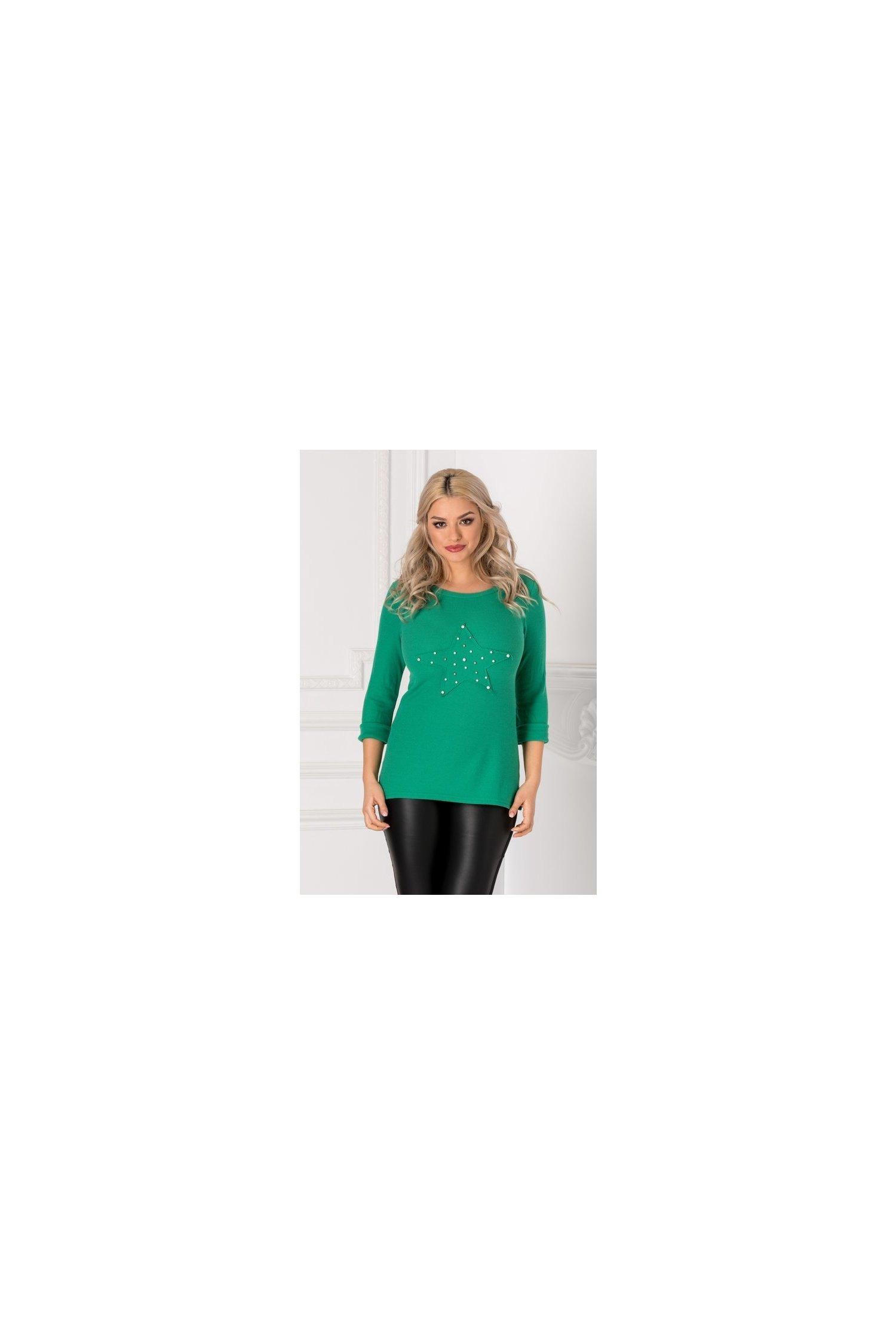 Bluza Sera verde casual cu aplicatie tip steluta si perlute la bust