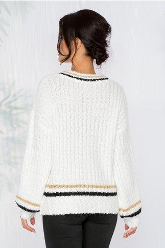 Bluza Simina alba din tricot pufos cu dungi negre si aurii