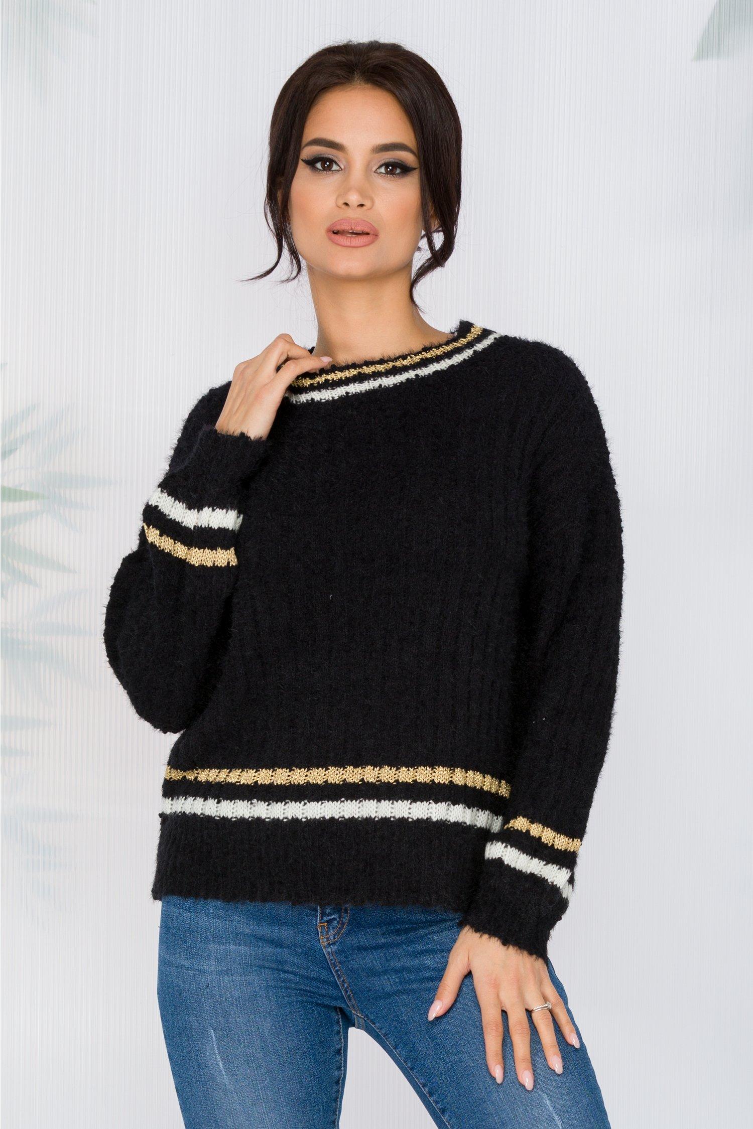 Bluza Simina neagra din tricot pufos cu dungi albe si aurii