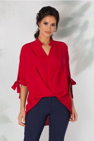 Bluza Simina rosie cu design petrecut
