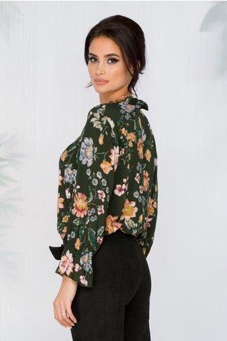 Bluza verde din vascoza cu imprimeu floral