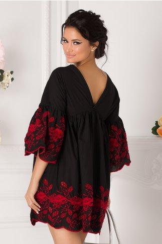 Camasa over size neagra cu broderie florala rosie