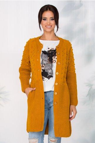 Cardigan Nelly tricotat galben mustar